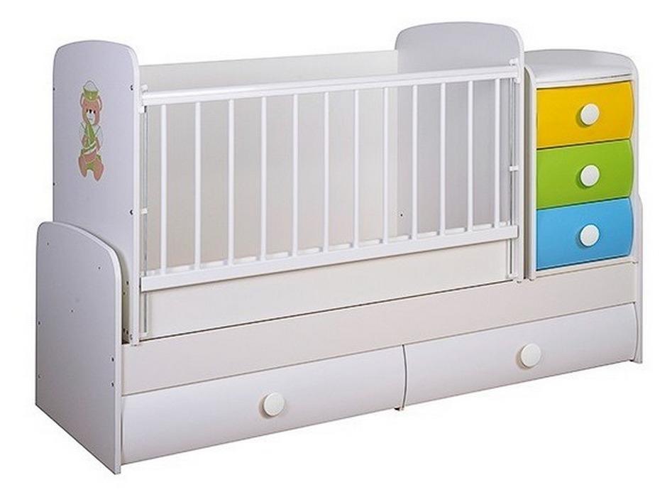 Белая кроватка с цветными вставками