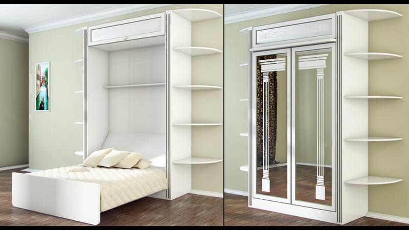 Белый шкаф кровать с зеркальным фасадом