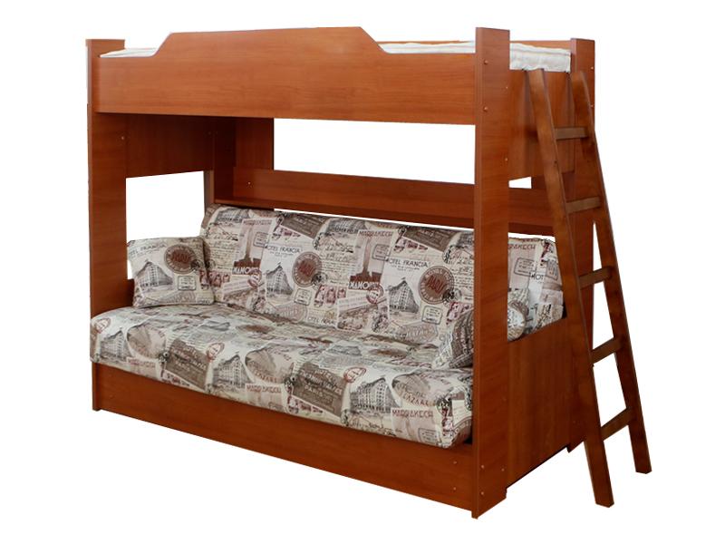 Деревянная двухъярусная кровать с диваном