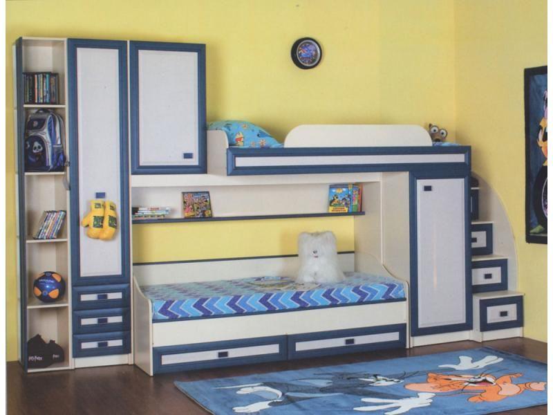 Детская двухъярусая кровать с диваном
