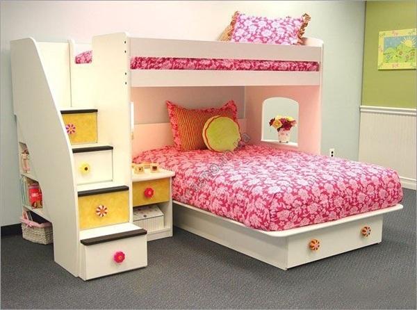 Детская двухъярусная кровать для девочек