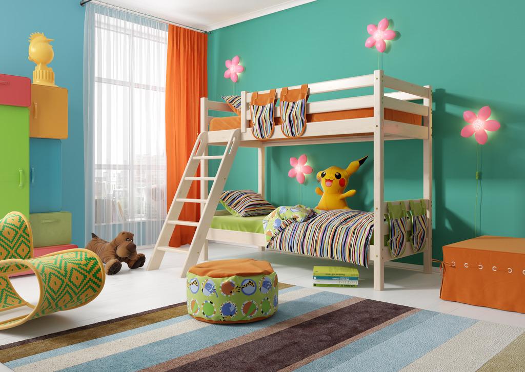 Детская двухъярусная кровать с бортиками из массива