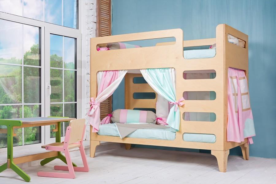 Детская двухъярусная кровать с несъемными ярусами