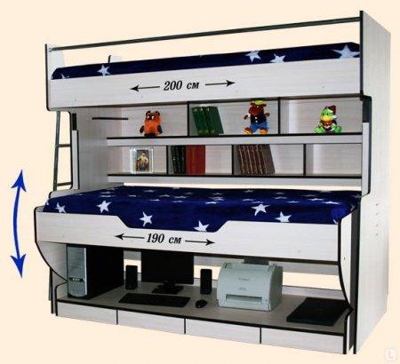 Детская двухъярусная стол кровать с дополнительными полками для книг и ящичками для хранения письменных принадлежностей