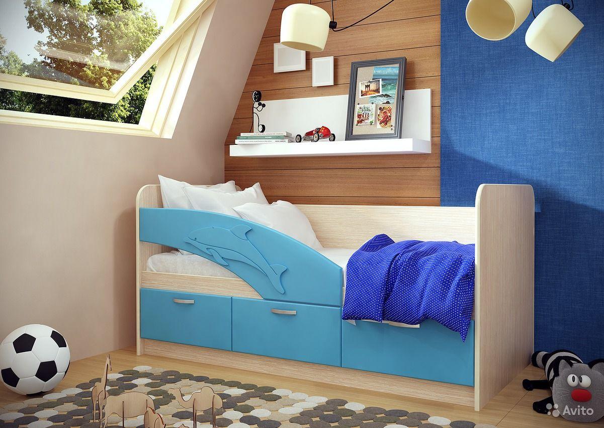 Детская кровать Дельфин с матрацем