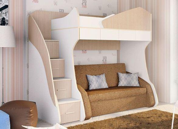 Детская кровать чердак с диваном