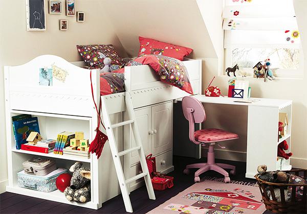 Детская кровать чердак с системой хранения