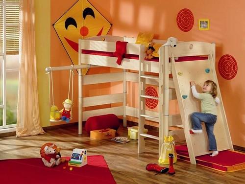 Детская кровать чердак со спортивным комплексом
