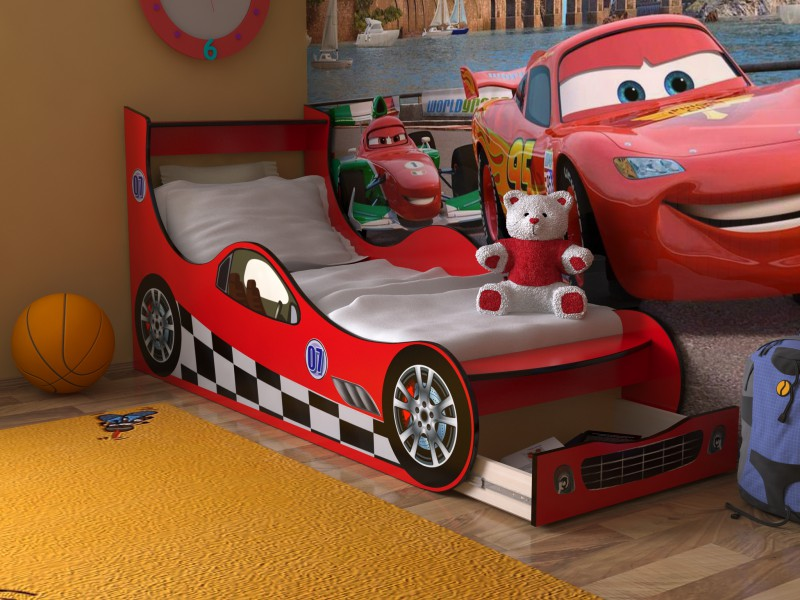 Детская кровать машинка с бельевым ящиком