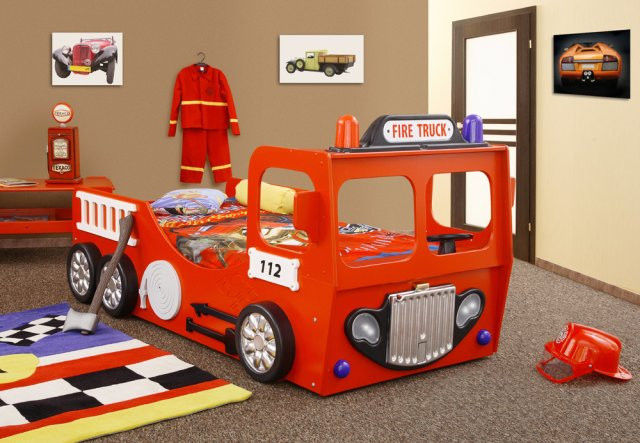 Детская кровать пожарная машина с матрасом