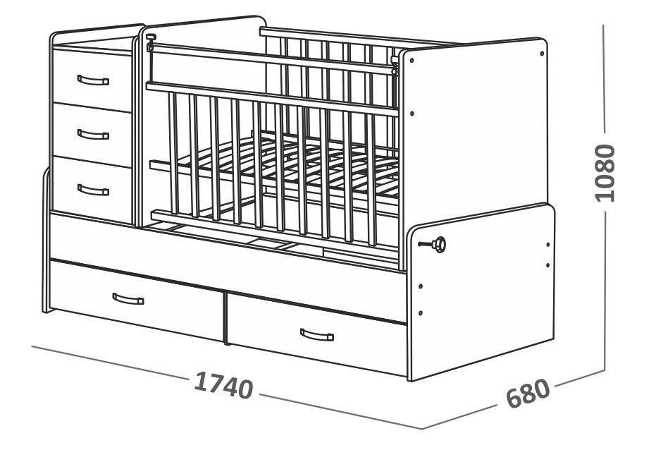 Детская кроватка трансформер - размеры