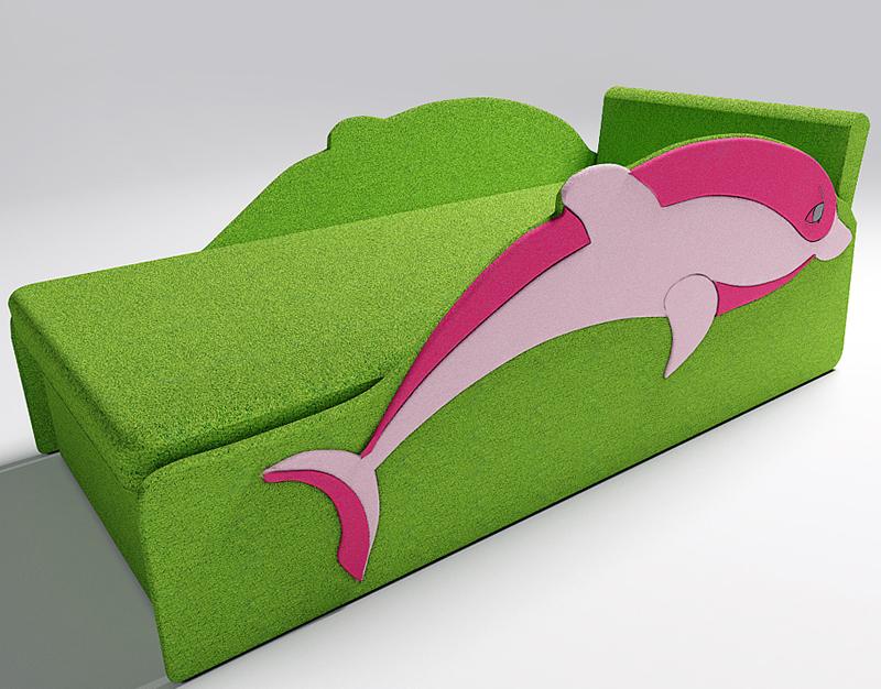 Диван дельфин мягкий с встроенным ящиком