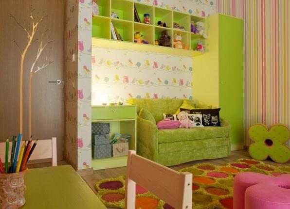 Диван кровать в интерьере детской