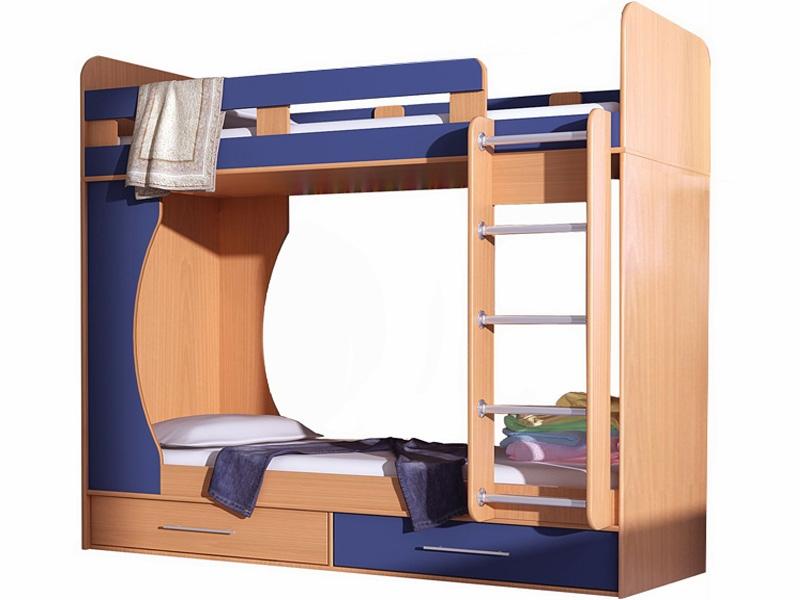 Двухъярусная кровать для детей с бортиками из ДСП