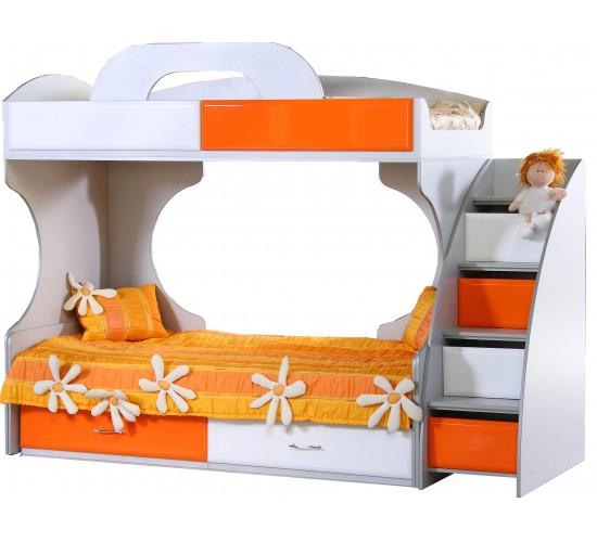 Двухъярусная кровать для детей с бортиками из МДФ