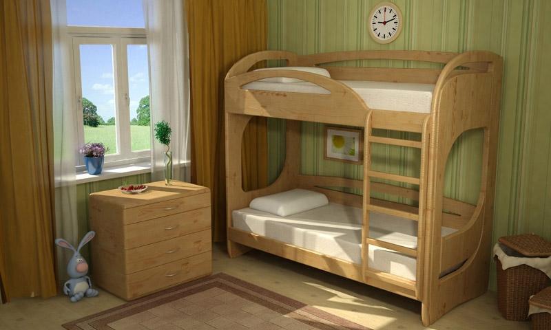 Двухъярусная кровать с фигурными бортиками