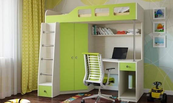 Двухъярусная кровать с письменным столом детям от 3 лет