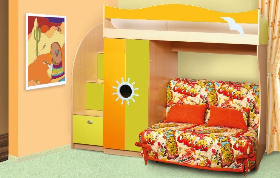 Двухъярусная кровать с раскладным диваном внизу