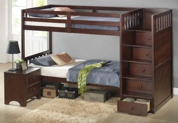 Двухъярусная кровать из прочного дерева с ящиками вместо спинки