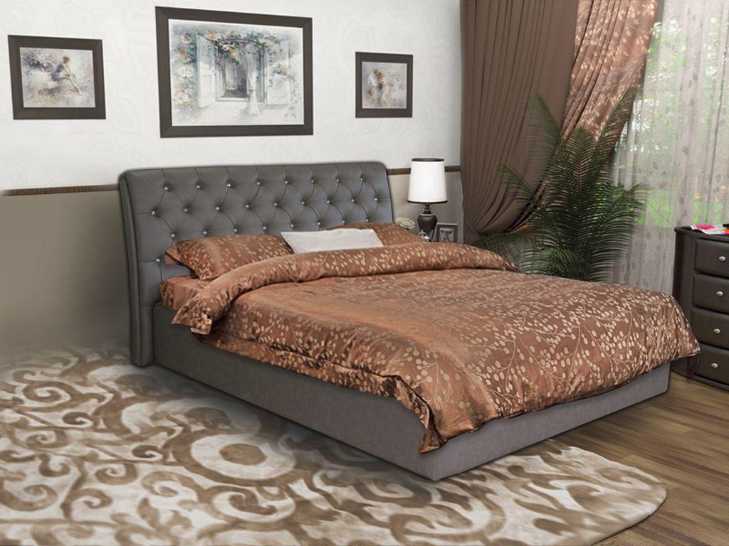 двуспальная кровать с мягким изголовьем фото