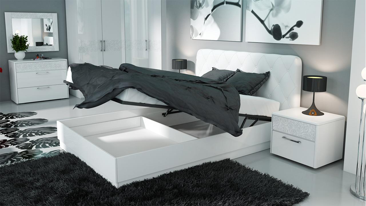 Двуспальная кровать с мягкой спинкой и подъемным механизмом