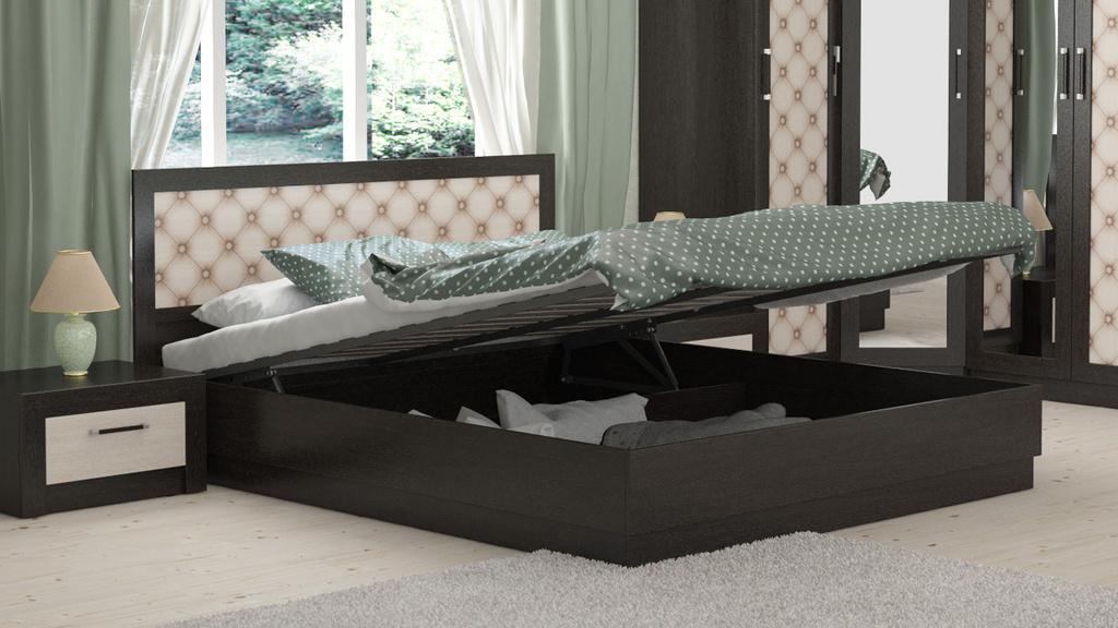 Двуспальная кровать с подъемным механизмом и широкой вставкой