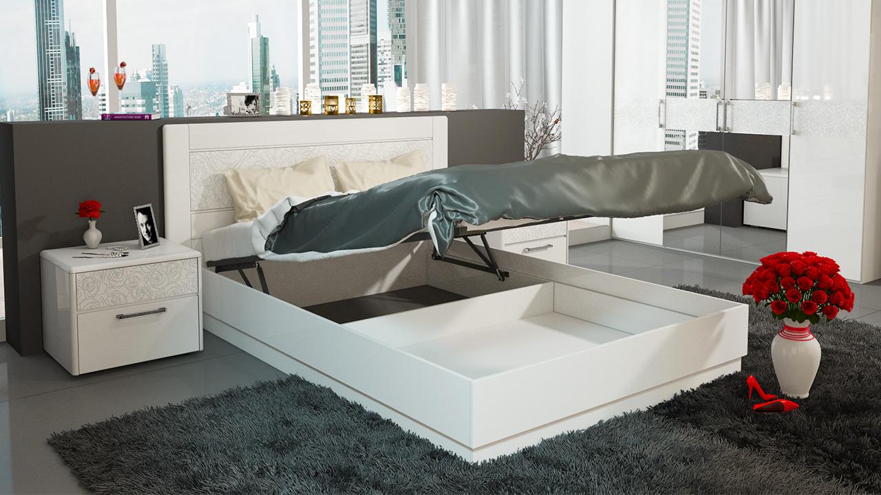 Двуспальная кровать с подъемным механизмом в белом цвете