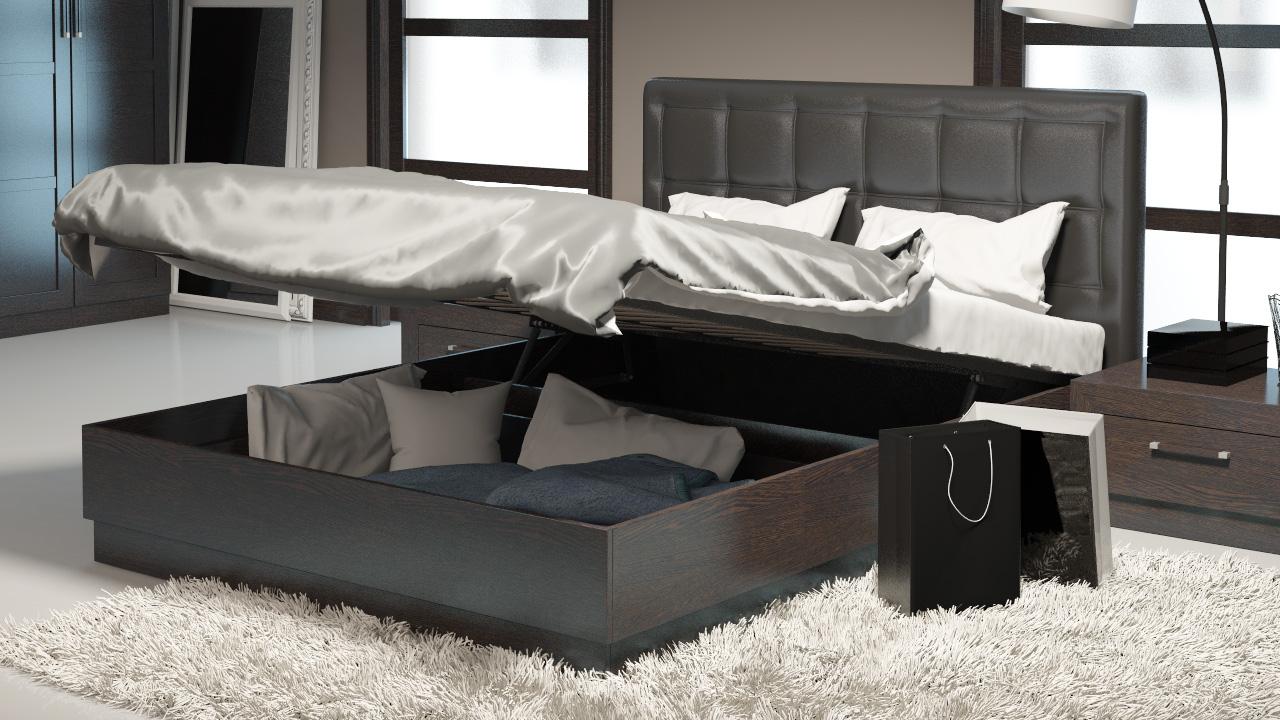 Двуспальная кровать с ящиками с подъемным механизмом