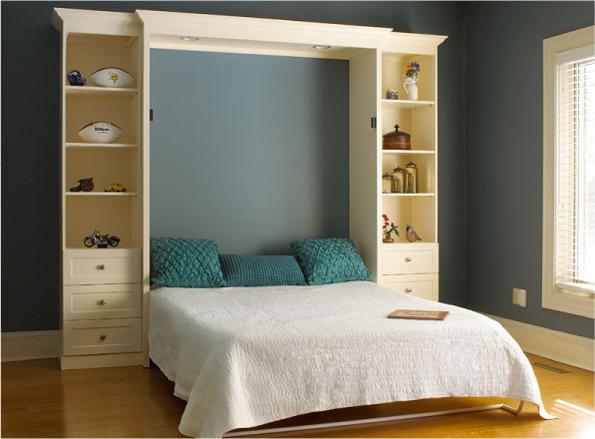 Двуспальная кровать шкаф с полками