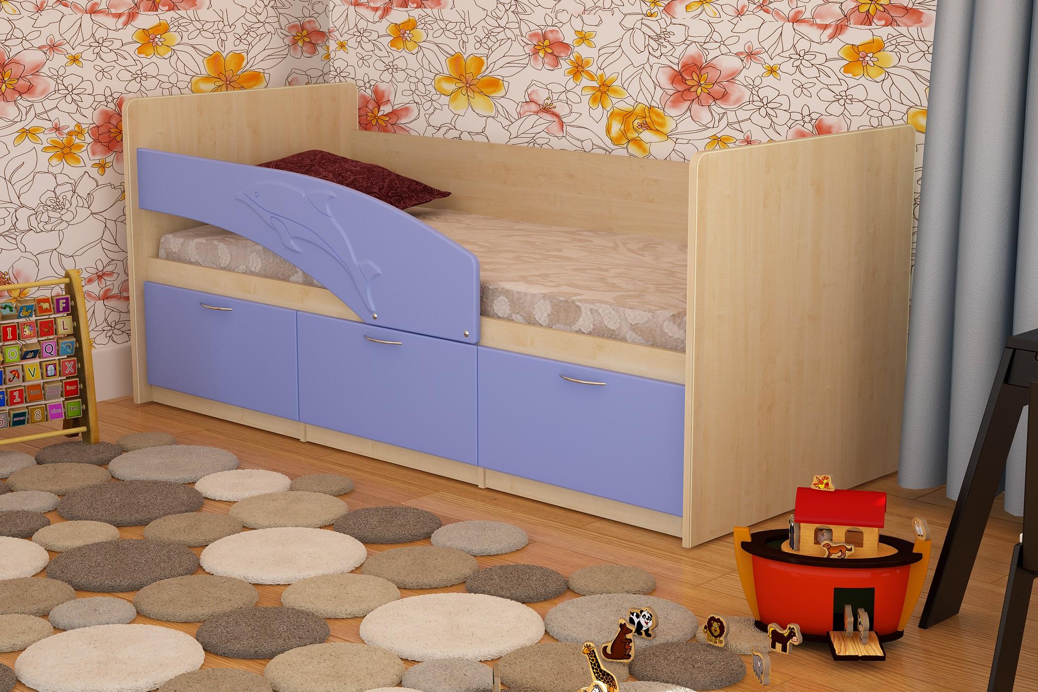 Голубая детская кровать