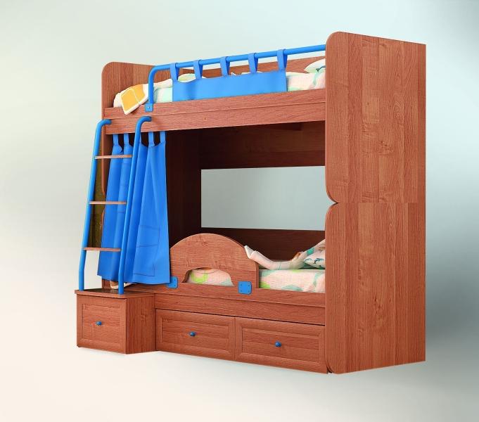 Комбинированная двухъярусная кровать для детей