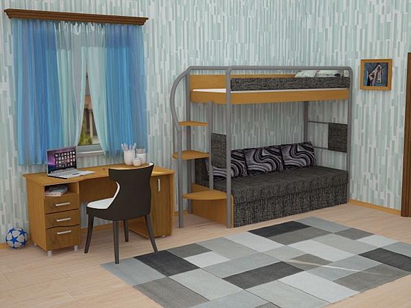 Комбинированная двухъярусная кровать с диваном