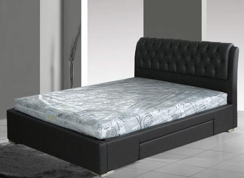 Кожаная кровать с ящиком