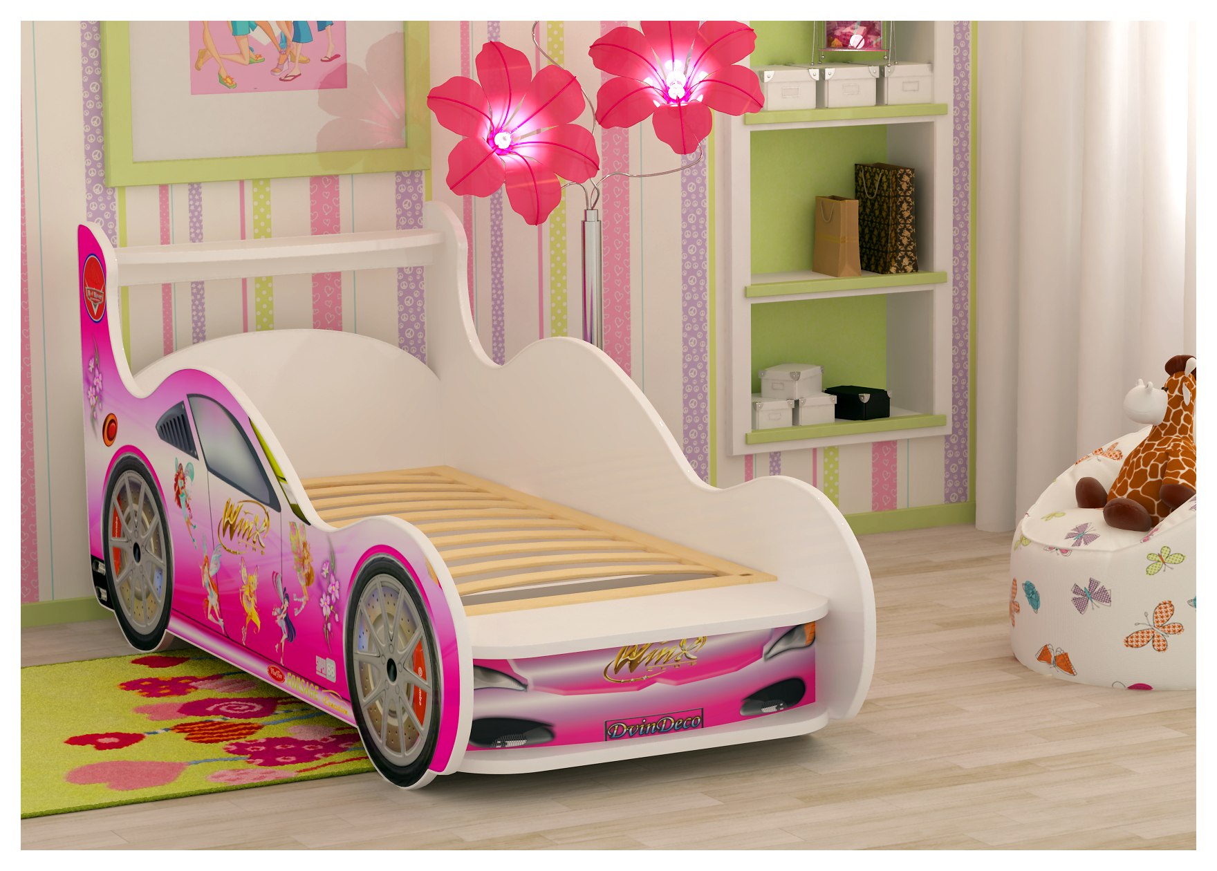 Красивая кровать машина для девочки