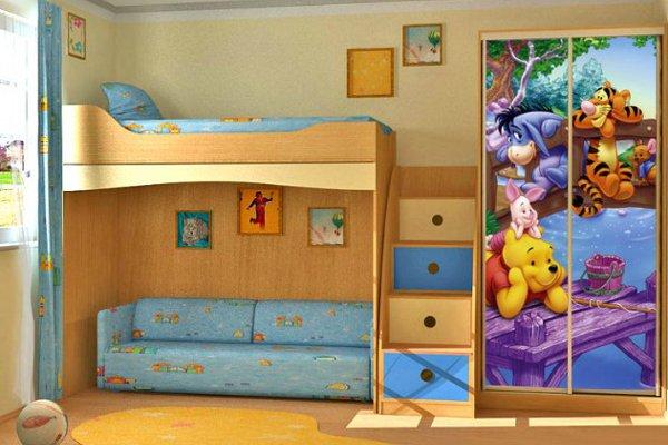 Красочная кровать с диваном