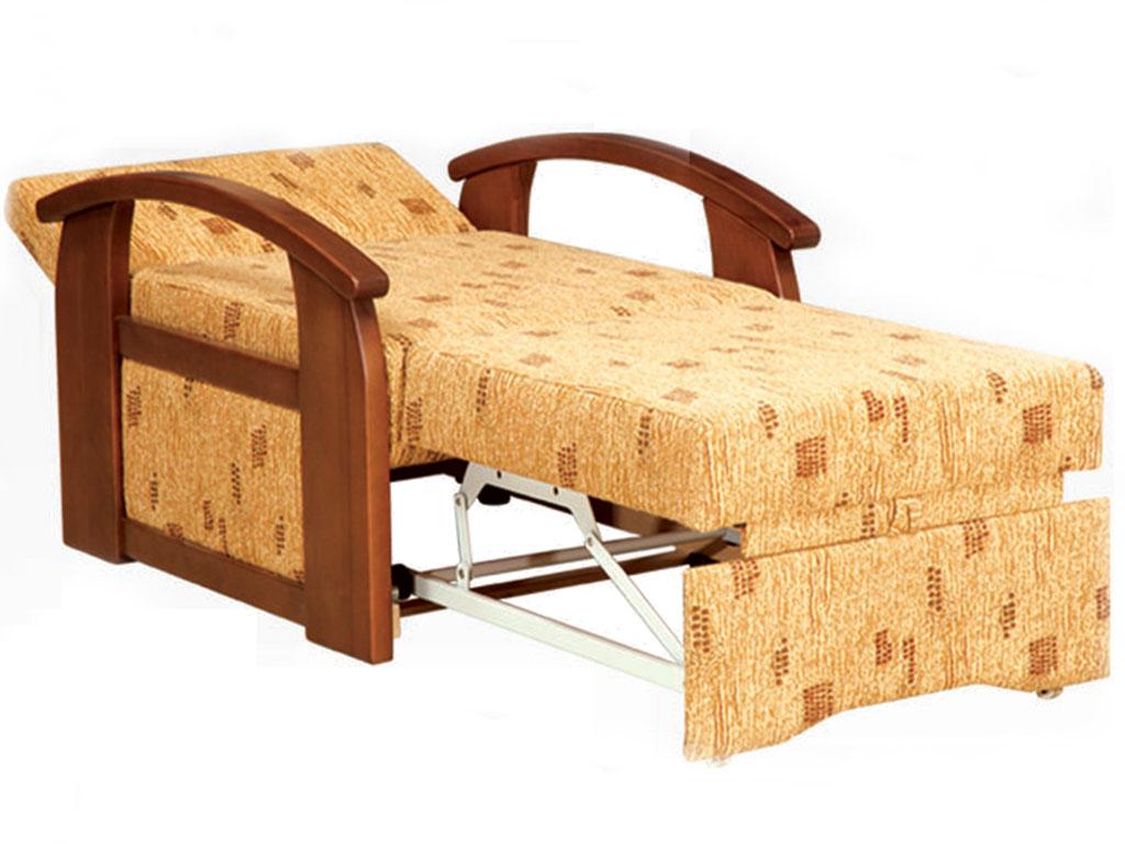 Кресло кровать с деревянными ручками