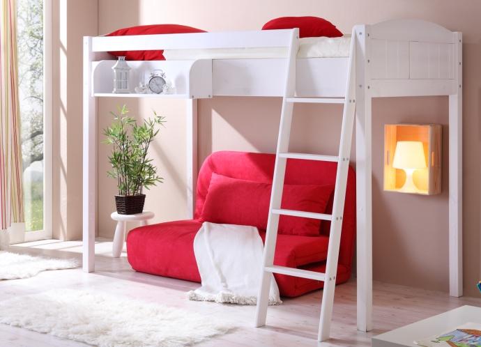 Кровать для взрослых с ярким диваном