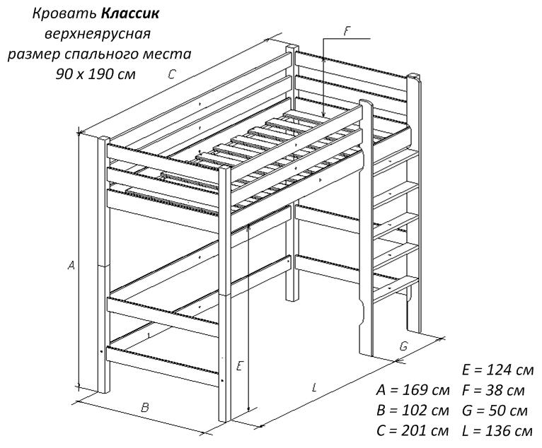 Кровать чердак классика