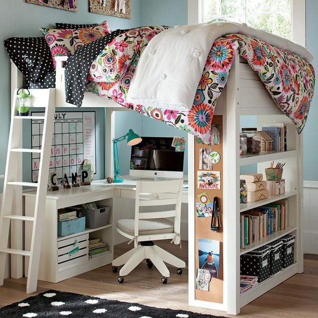 Кровать чердак подростка с комфортной рабочей зоной впишется практически в любой интерьер