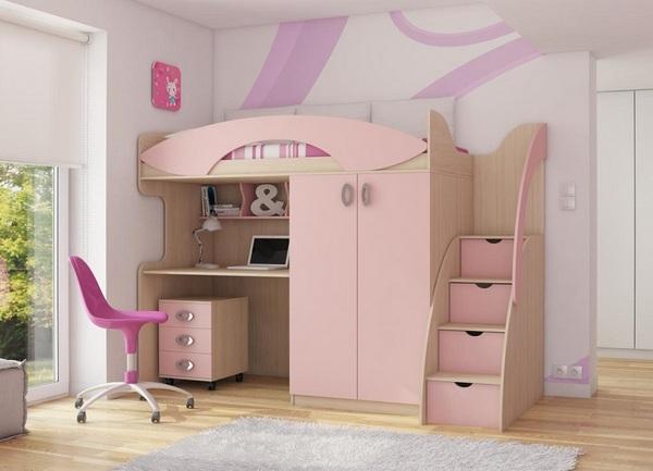 Кровать чердак с рабочей зоной и шкафом для девочки