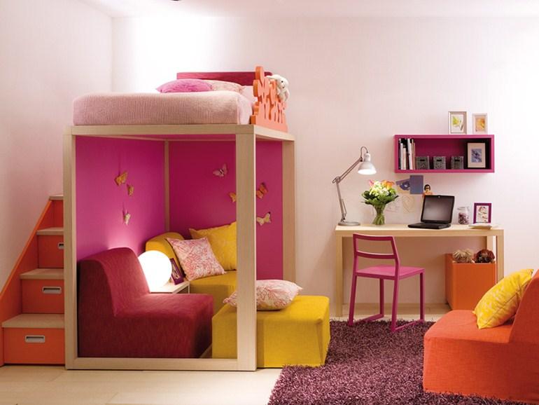 Кровать для девочки с двухъярусной структурой
