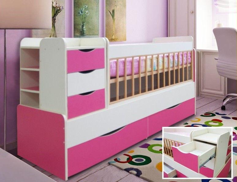 Кровать для девочки со встроенным комодом
