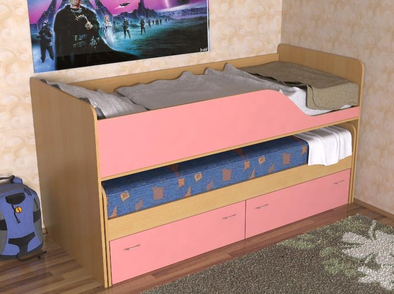 Кровать для двоих детей в сложенном виде