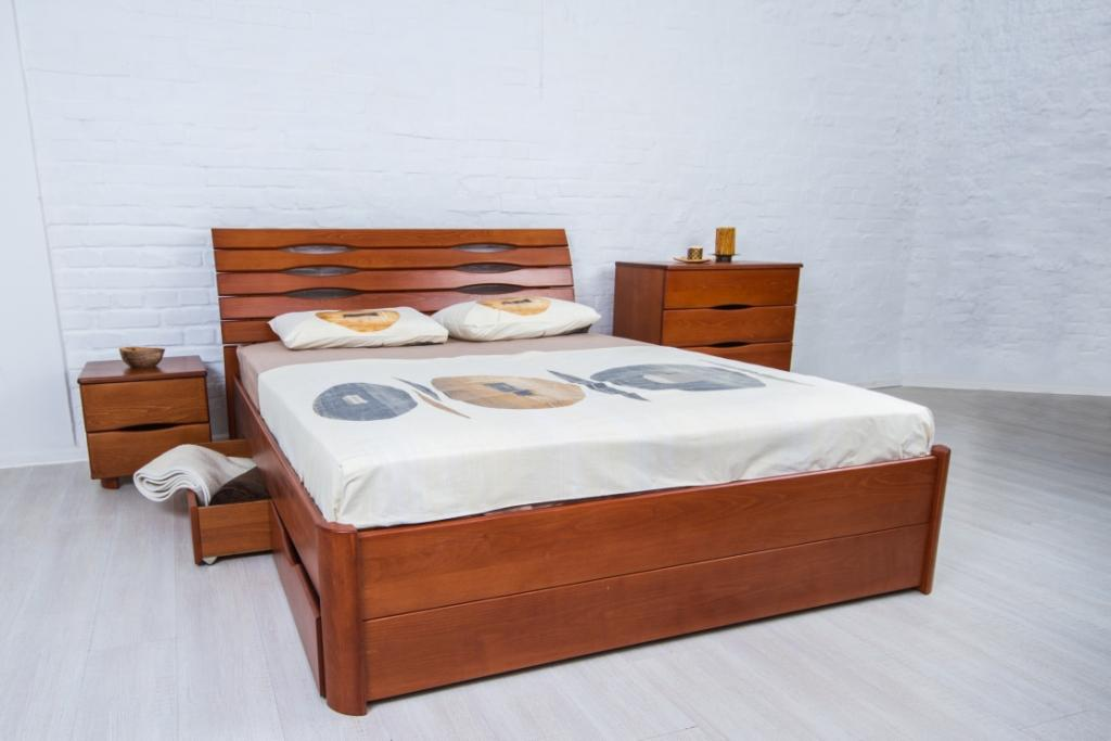 Кровать для двоих с ящиками