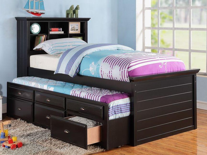 Кровать для двух детей в темном цвете