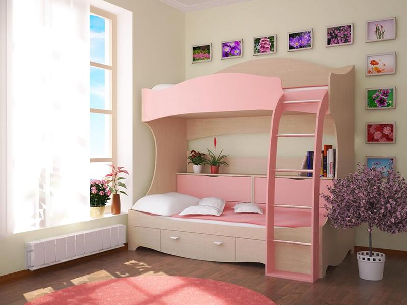Кровать двухъярусная с розовыми вставками
