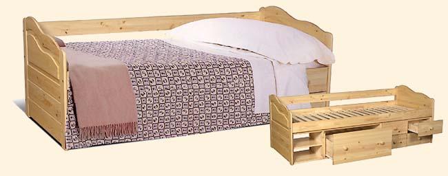 Кровать из светлого дерева с ящиками