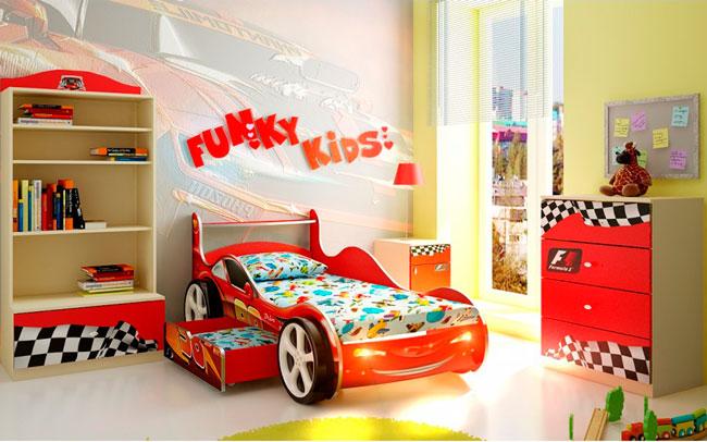 Кровать машина Фанки молния с ящиком