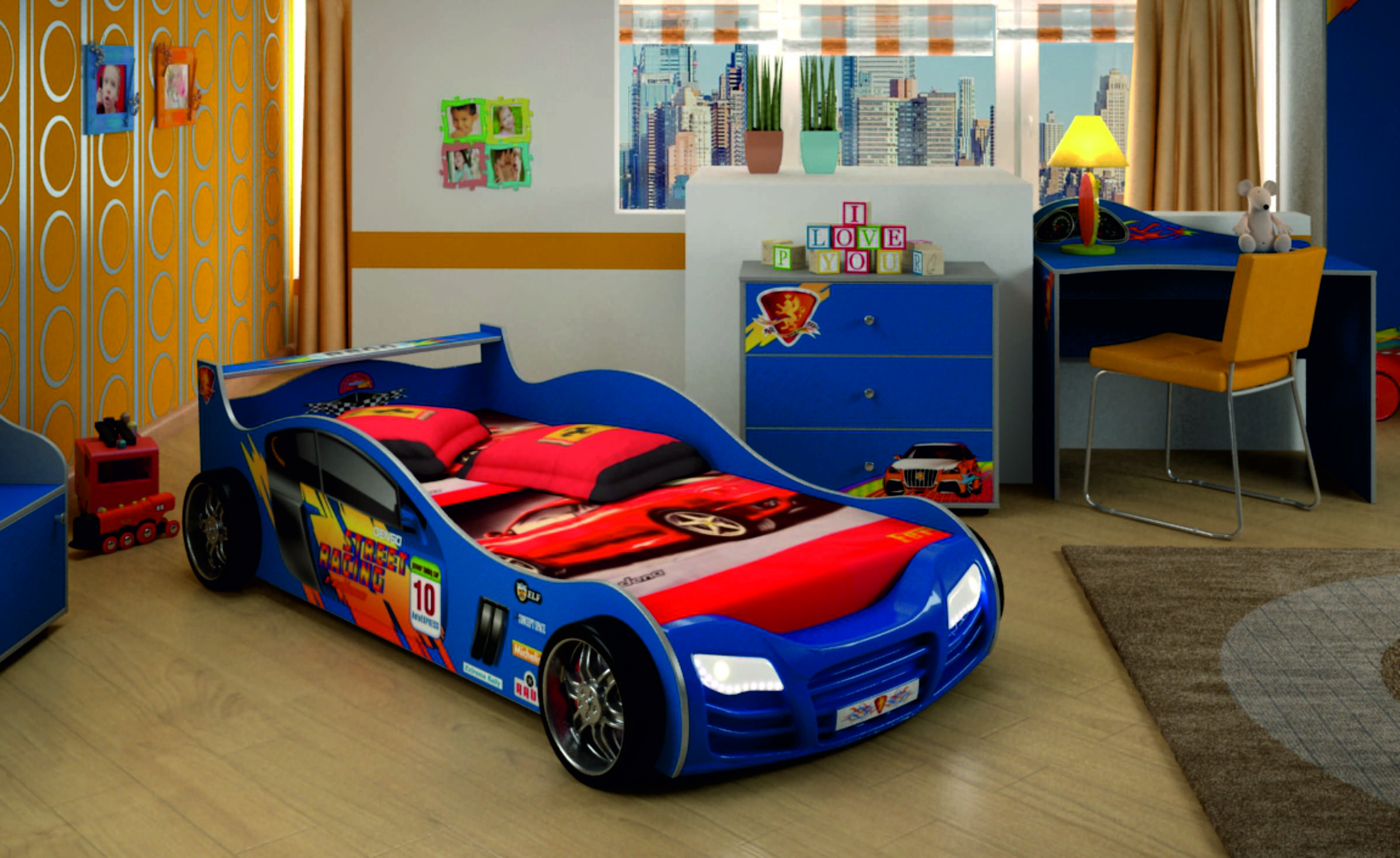 Кровать машина в интерьере детской