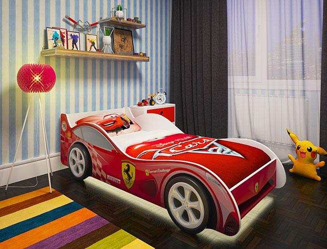 Кровать машинка с подсветкой и матрасом